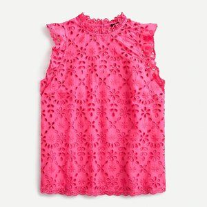 J. Crew Embroidered Eyelet Flutter Sleeve Top NWT